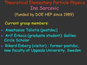DOE 2010 presentation - Department of Physics - University of Arizona