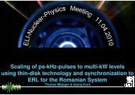 Scaling of ps-kHz-pulses to multi-kW levels using thin-disk - ELI-NP