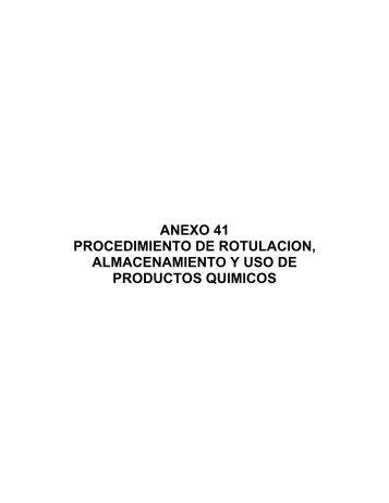 procedimientos de rotulación, almacenamiento y uso de producto ...