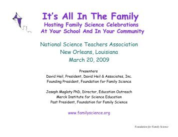 National Science Teachers Association New ... - Family Science