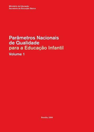 Parâmetros nacionais de qualidade para a educação infantil Volume 1
