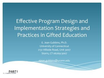 Effective Program Design and Implementation Strategies and ...