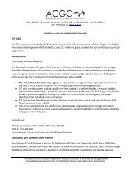 Briefing Notes - Alberta Council for Global Cooperation
