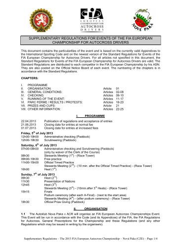 2001 autocross standard regulations for events of ... - Autocross-EM