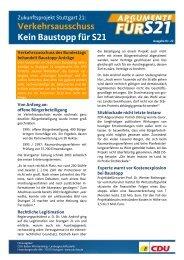 Argumente für S21 Ausgabe 22 - CDU Baden-Württemberg