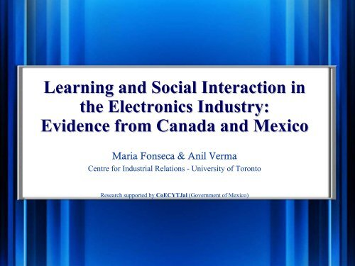 Learning and Social Interaction in the Electronics Industry: Evidence ...