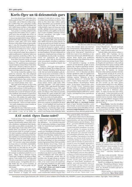 Kultūras Ziņas - Ogres Kultūras centrs