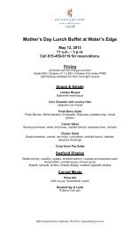 Mother's Day Lunch Buffet at Water's Edge May 12, 2013 11 am