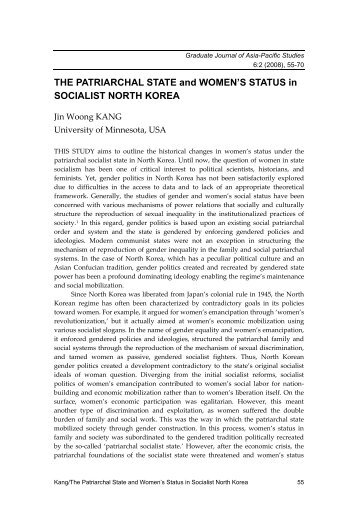 The Partiarchal State and Women's Status in Socialist North Korea
