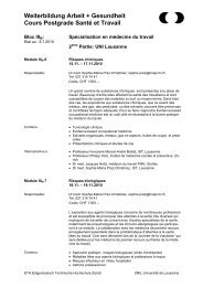 Block IV: - Institut universitaire romand de Santé au Travail