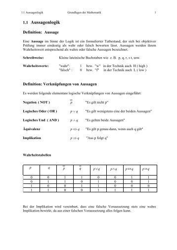 Kap. 1.1 - Aussagenlogik