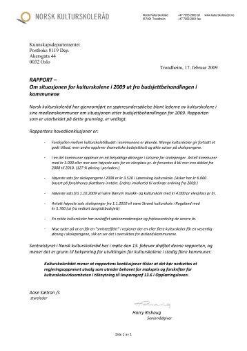 2009 Undersøkelse: Budsjettstatus i kulturskolene - Norsk ...