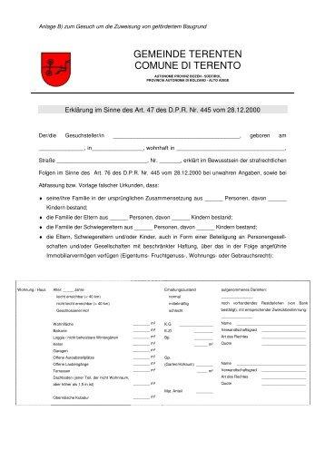 Gemeinde Ahrntal Comune Di Valle Aurina Satzung Statuto
