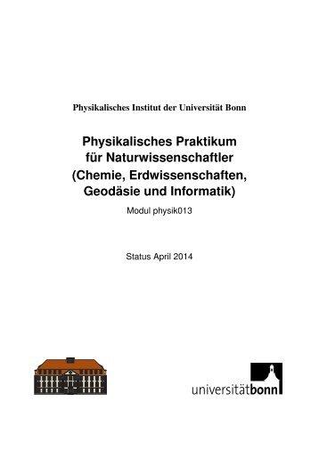 Physikalisches Praktikum für Naturwissenschaftler (Chemie ...