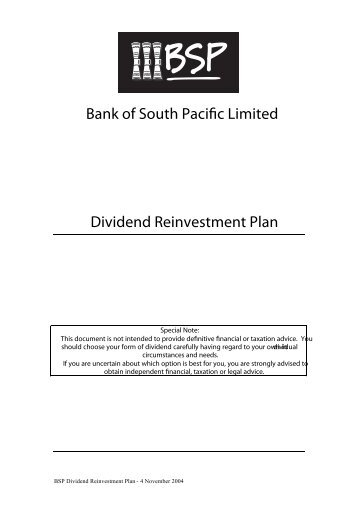 What is the Dividend Reinvestment Plan? - Bank South Pacific