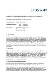 Allgemeine Ausstellungsbedingungen der SPONSORs Verlags GmbH