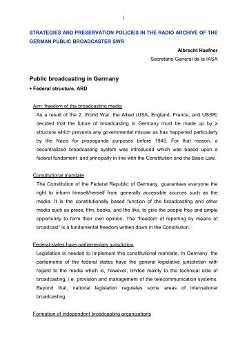 Public broadcasting in Germany - RedIRIS
