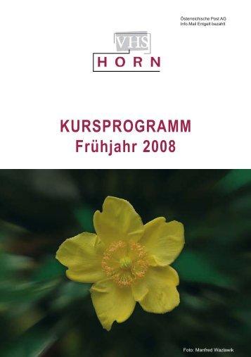 KURSPROGRAMM Frühjahr 2008 - VHS Horn