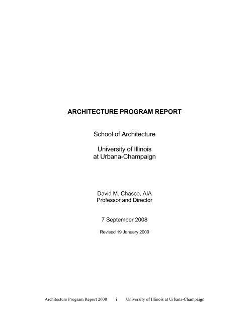 Architecture Program Report - School of Architecture - University of ...