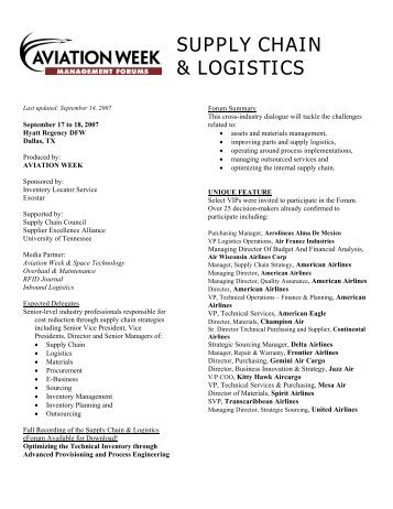 SUPPLY CHAIN & LOGISTICS - Aviation Daily on Airports
