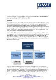 Ansøgning vedrørende ny bevilling til Vidensnetværk for Vand og ...