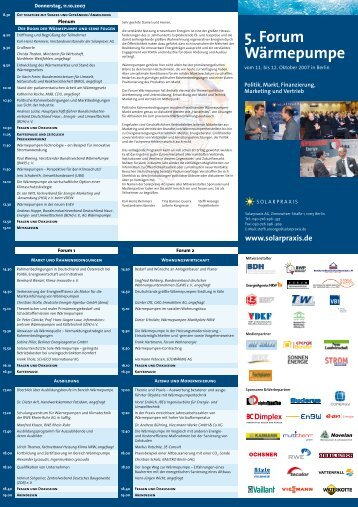 Programm 5. Forum Wärmepumpe - bwp   Marketing & Service GmbH