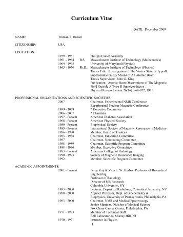 Curriculum Vitae - Clinical Departments