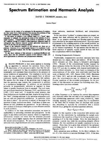 Spectrum Estimation and Harmonic Analysis - M. Javad Omidi