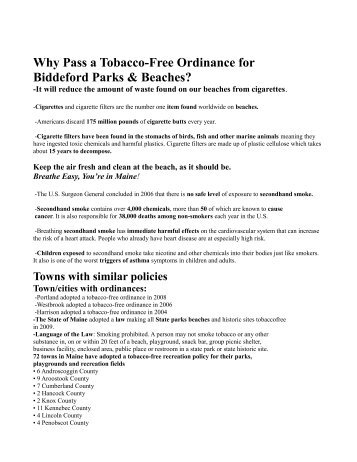 Why Pass a Tobacco-Free Ordinance for ... - City of Biddeford