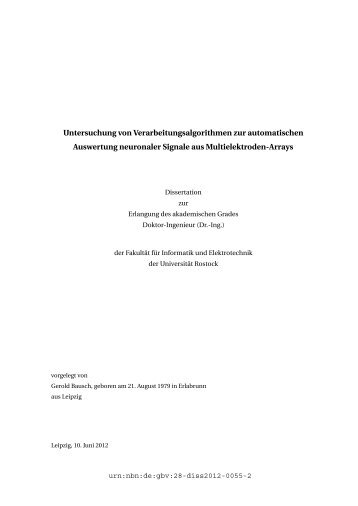 Untersuchung von Verarbeitungsalgorithmen zur automatischen ...
