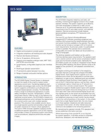 Zetron DCS 5020 - Sigma Wireless