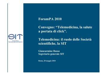 """ForumPA 2010 Convegno: """"Telemedicina, la salute a portata di click ..."""