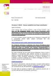 Circolare 7/2010 – Nuova modalità invio flussi contributivi ... - Pegaso