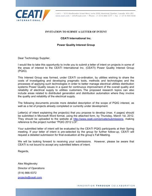 INVITATION TO SUBMIT A LETTER OF INTENT CEATI     - Ceati com