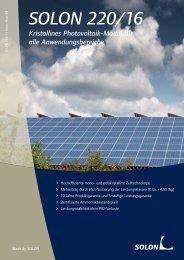 Datenblatt Solon 220/16 - Reisinger Sonnenstrom