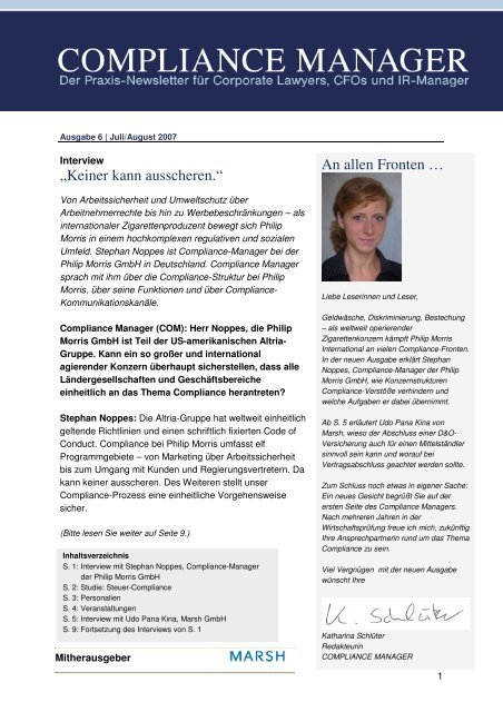 (PDF)   Ausgabe August 2007 - Compliance