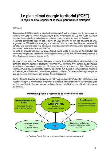Le plan climat énergie territorial (PCET)