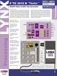 SD/HD Video & AES Test Generator - LYNX Technik AG