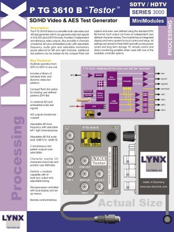 SD/HD Video & AES Test Generator - LYNX Technik AG