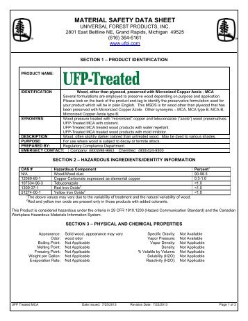 UFP-Treated MSDS - Universal Forest Products