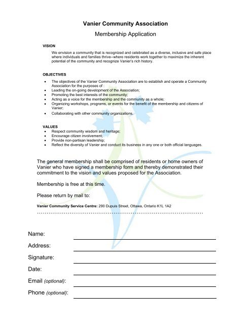 Vanier Community Association Membership Application
