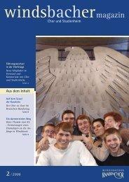 Windsbacher Magazin 2006 Ausgabe 02 - Windsbacher Knabenchor
