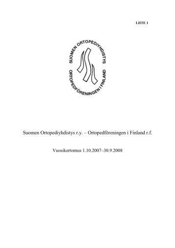Vuosikertomus 2007-2008 - Suomen Ortopediyhdistys
