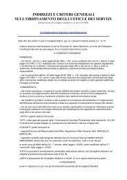 indirizzi e criteri generali sull'ordinamento degli uffici e dei servizi