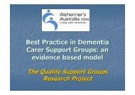 Best Practice in Dementia Carer Support Groups - Alzheimer's ...