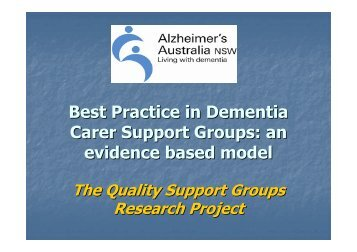 Best Practice in Dementia Carer Support Groups - Alzheimer's ...
