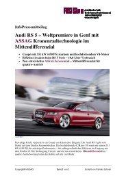 InfoPressemitteilu Audi RS 5 ASSAG Mittendifferen