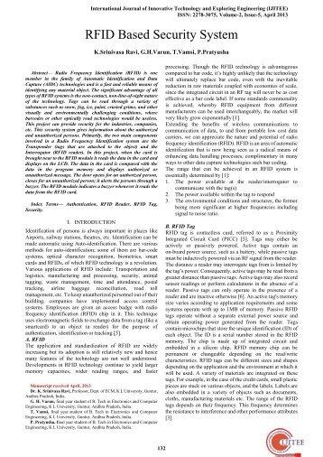 RFID Based Security System - International Journal of Innovative ...
