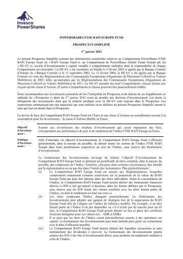 POWERSHARES FTSE RAFI EUROPE FUND PROSPECTUS ...
