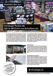 Christinger Partner AG lädt im HB Zürich zum Schmökern ein.